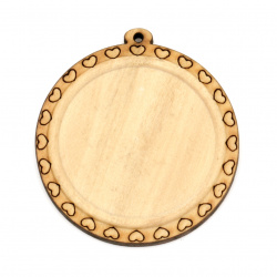 Unfinished Wooden base for pendant 50x46x4 mm tile 35 mm hole 1.5 mm color wood - 2 pieces