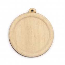 Unfinished Wooden base for pendant 49x44x4 mm tile 35 mm hole 1.5 mm color wood - 2 pieces