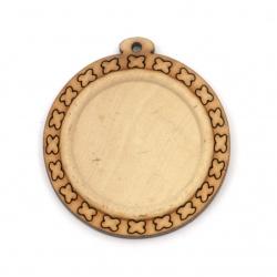Дървена основа за медальон 40x37x5 мм плочка 25 мм дупка 1.5 мм цвят дърво -4 броя