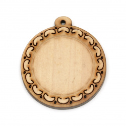 Unfinished Wooden base for pendant 39x35x5 mm tile 25 mm hole 1.5 mm color wood - 4 pieces