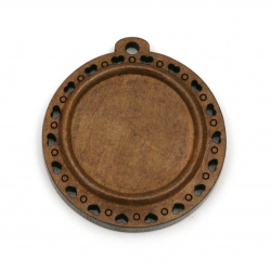 Unfinished Wooden base for pendant 40x37x5 mm tile 25 mm hole 2.5 mm color brown - 2 pieces