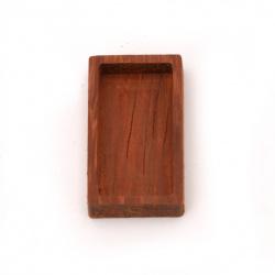 Основа за медальон от масивно дърво червена круша 20x35x6 мм плочка 15x30 мм правоъгълник