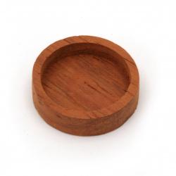Основа за медальон от масивно дърво червена круша 23x23x6 мм плочка 18.5x18.5 мм кръг