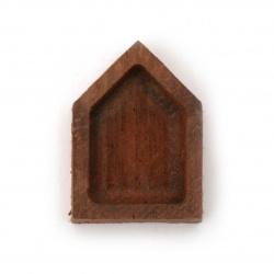 Основа за медальон от масивно дърво червена круша 16x23x6 мм плочка 12x17 мм фигура