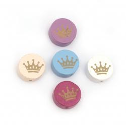 Margele din lemn  19 ~ 20x10 ~ 10,5 mm orificiu 2,5 mm forma coroană imprimată MIX -5 buc