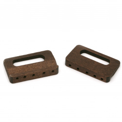 Wooden Accessory  for bags and belts 46x29x8 mm holes 2 mm color brown - 4 pieces