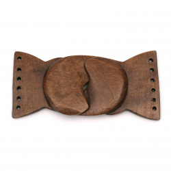 Wooden belt fastener 110x45x5 mm hole 2 mm color brown - 1 set