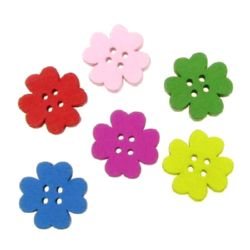 Wood Buttons, Dover, Mixed  Colors, 20x20x4mm, holes 1.5mm, 10 pcs
