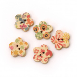 Flower shaped wooden button, flat with print 18x3 mm hole 1.5 mm mix - 5 pieces