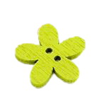 Flower shaped wooden button 15x15x2 mm hole 1 mm mix - 20 pieces