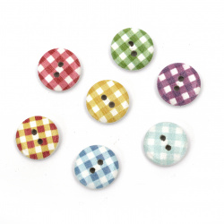 Round wooden button, flat with print 15x4 mm, 1 mm hole - 10 pieces