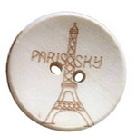 Round wooden flat button with Eiffel tower 20x4.5 mm hole 2 mm - 5 pieces