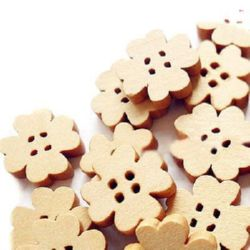 Wooden button clover 14x3 mm hole 1.5 mm - 10 pieces