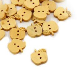 Apple wooden flat   button 15x15x3 mm hole 1.5 mm - 10 pieces