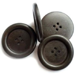 Round wooden flat button 18x4 mm hole 2 mm black - 5 pieces