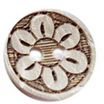 Round wooden flat button  with flower,  15x3mm, 2mm hole - 5 pcs