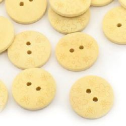 Round wooden flat button 20x4 mm hole 2 mm - 10 pieces