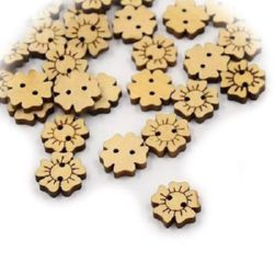 Flower shaped wooden button 15x3.5 mm hole 1 mm - 10 pieces