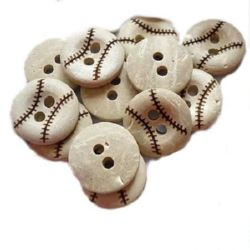 Round wooden flat button 13x3mm, 1.5mm hole - 5 pieces