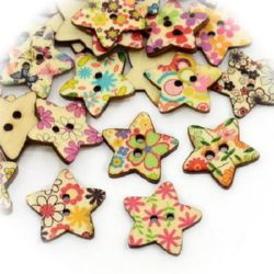Star wooden flat button with print 24x25x3 mm hole 3 mm mix - 10 pieces