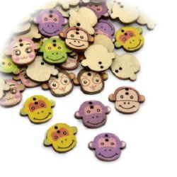 Monkey's head shaped wooden button 18x22x2 mm hole 1.5 mm mix - 10 pieces
