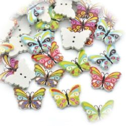 Butterfly shaped wooden button, flat with print  17x23x2 mm hole 1 mm mix - 10 pieces