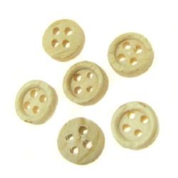 Round wooden flat button 9x3 mm hole 2 mm - 20 pieces