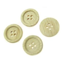 Round wooden flat button 18x4 mm hole 2 mm - 10 pieces