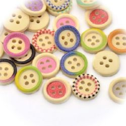 Wood button, Flat Round, painted, Mixed color  15x3mm, 2mm hole, 10 pcs