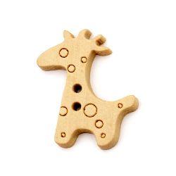 Копче дърво жираф 25x20x3 мм дупка 1.5 мм -10 броя