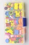 Комплект дървени мъниста 10 вида в кутия 6.5x12.7 см