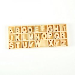 Set of wooden letters 26 types x 5 pieces in box 8.5x21x1.5 cm