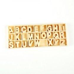 Set de litere din lemn 26 tipuri x 5 bucăți în cutie 8.5x21x1.5 cm