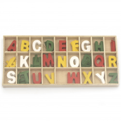 Set of wooden letters colored 26 types x 5 pieces in a box 8.5x21x1.5 cm