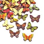 Копче дърво пеперуда 17x24.5x2 мм дупка 1 мм МИКС -10 броя