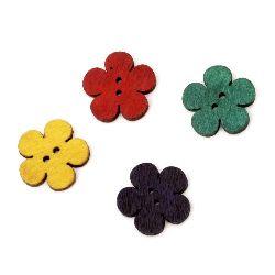 Λουλούδι ξύλινο κουμπί 20x2,5 mm τρύπα 1,5 mm MIX -10 τεμάχια