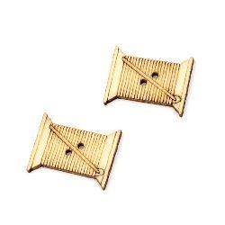 Καρούλι ξύλινο κουμπί 24x19x2 mm τρύπα 1,5 mm MIX -10 τεμάχια