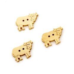 Αγελάδα ξύλινο κουμπί 16x23x3 mm τρύπα 1,5 mm -10 τεμάχια