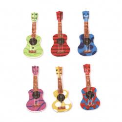Nasture din lemn  chitară 36x18x3 mm orificiu 2 mm MIX -10 bucăți