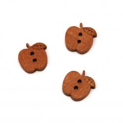 Μήλο ξύλινο κουμπί 15x17x4 mm τρύπα 2 mm -10 τεμάχια