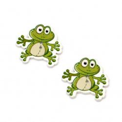 Копче дърво жаба 28x30x2.5 мм дупка 1.5 мм -10 броя