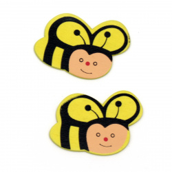 Wooden cabochons bee 40x30x2 mm -10 pieces
