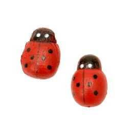 Wooden Decoration Element Ladybug 13x10x4 mm type cabochon painted red - 20 pieces