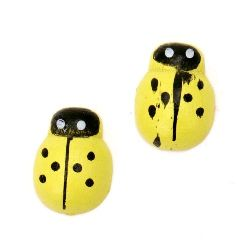 Wooden Decoration Element Ladybug 13x10x4 mm cabochon type painted yellow -20 pieces