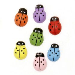 Wooden Decoration Element Ladybug 13x10x4 mm type cabochon painted MIX - 20 pieces