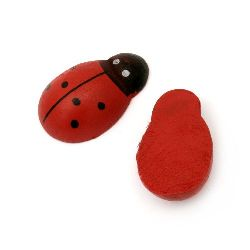 Wooden Decoration Element Ladybug 23x34x10 mm cabochon type, painted red - 10 pieces