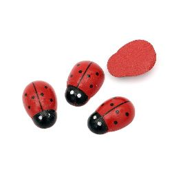 Wooden Decoration Element Ladybug 19x28x9mm, cabochon type, Painted Red - 10 pcs.