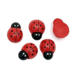 Wooden Decoration Element Ladybug 19x25x8mm, cabochon type, Painted Red - 10 pcs.