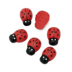 Wooden Decoration Element Ladybug  17x24x7mm,cabochon type, Painted Red - 10 pcs.