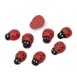Wooden Decoration Element Ladybug 11x15x5mm, Painted Red, 20 pcs.